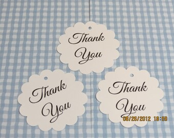 "Tags & Ties - 2"" Round Scalloped ""Thank You"" Tags/Labels"