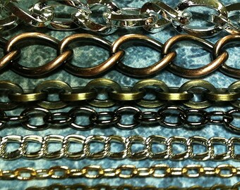 Free us shipping  .....chain sampler large, small, brass, steel, 7 different types at least 15 feet total US SHIPPING ONLY