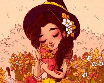 Secret Strawberry Snuggler Fine Art Print