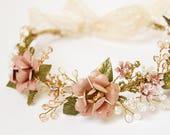 Pink flower hair crown, Wedding hair crown, crystal and pearl headband, bohemian bride, woodland head wreath, rustic wedding, hair accessory