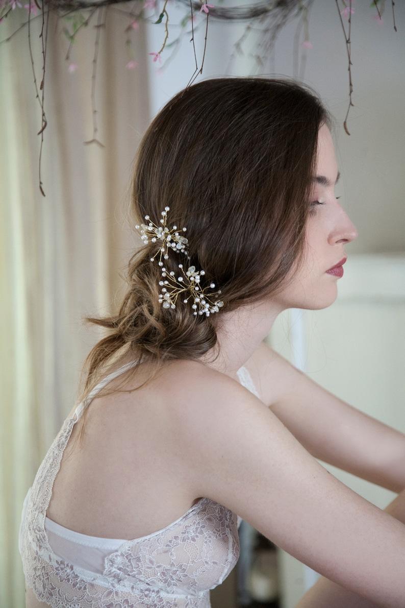 white bride headpieces baby/'s breath hairpins Bridal pearl hair pins set floral hair clips gold hair set hairpieces Wedding accessory