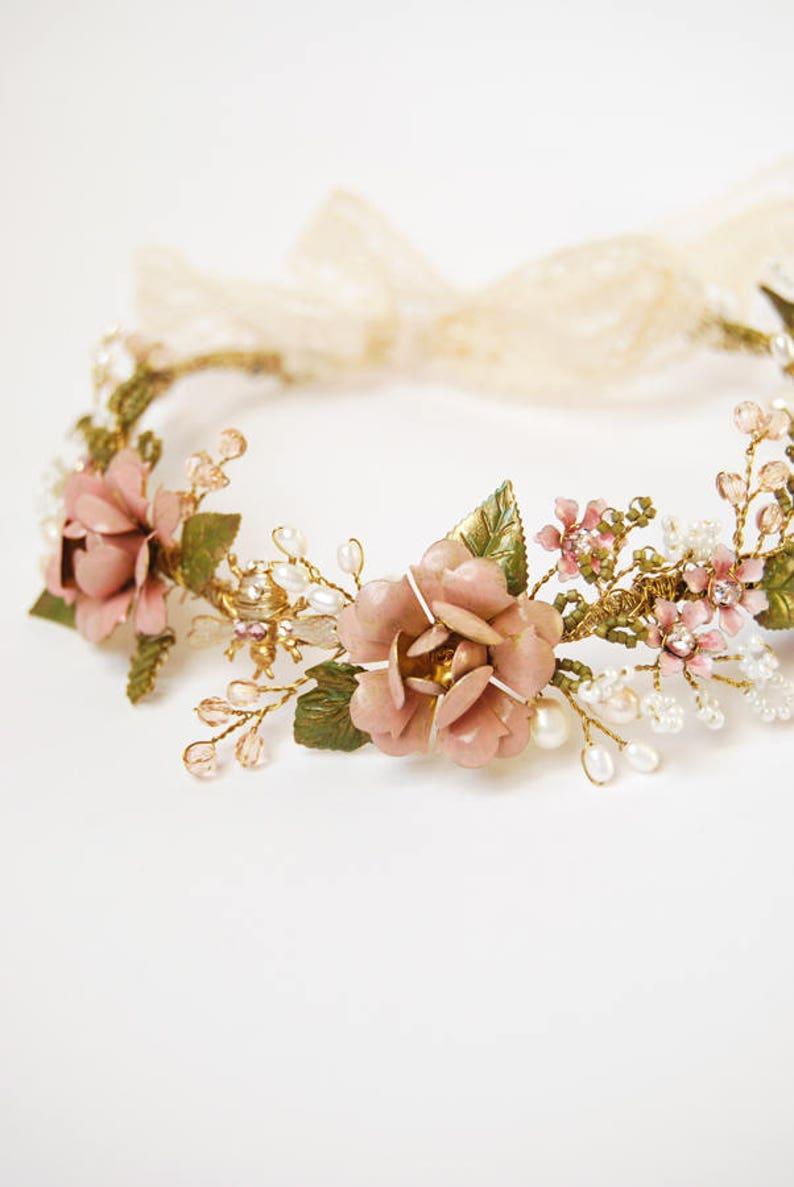 Fiori Bohemien Matrimonio : Coroncina sposa floreale gioiello sposa boho corona fiori etsy