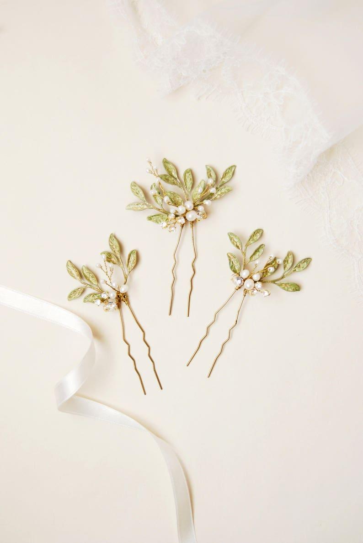 Forcine sposa rami d olivo set pettinini matrimonio botanico  e34a1057098e