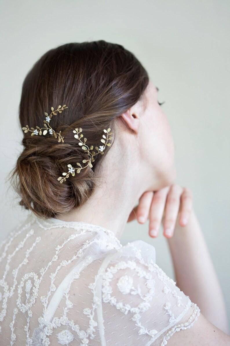 Forcine sposa oro tralcio gioiello capelli fiore perle e  78110dff14a4
