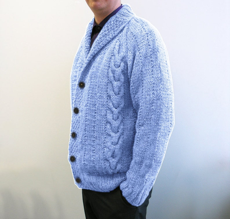 a64cb1f1275 Hand knitted mens cardigan light blue 100% wool