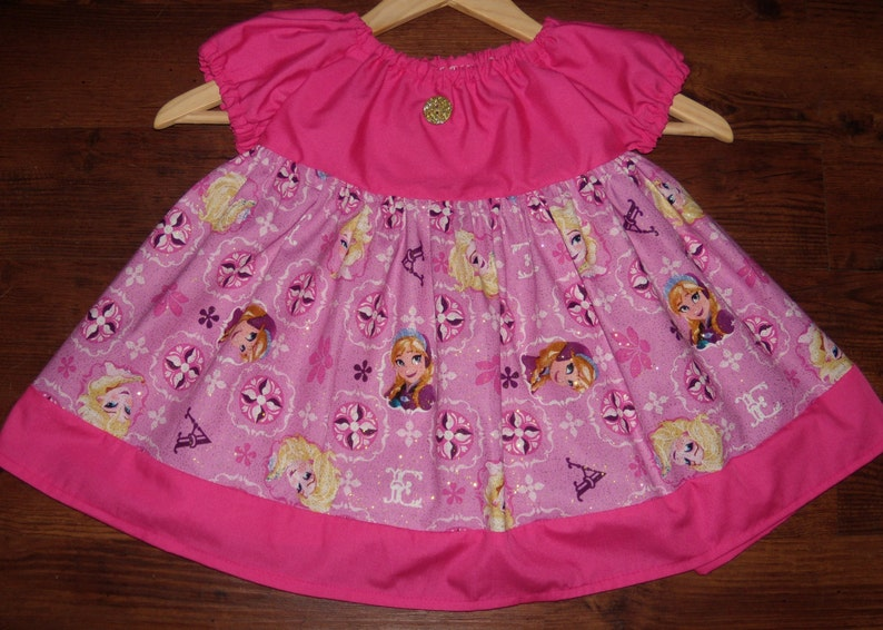 Size 23 Peasant Dress Disney Frozen Elsa and Ana Pink Party Girls  Country Style for Fall