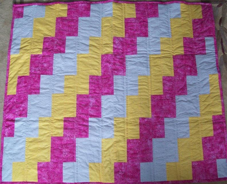 Toddler Bed Blanket Comforter New Handmade Pink Yellow Grey  Baby Crib Quilt