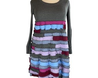 S Threads Upcycled Dress Spiral Patchwork Solid T-shirts Long Sleeve Size XL/2X/3X