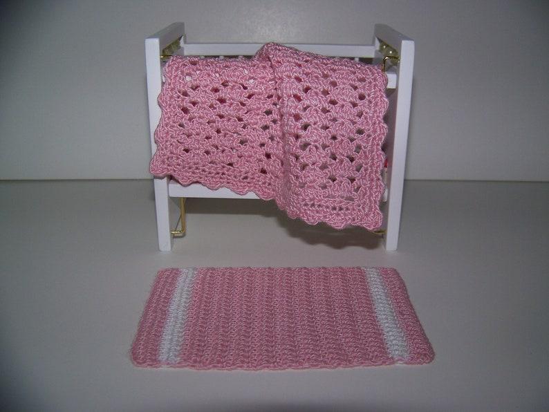 CROCHETED MINIATURE DOLLHOUSE  BLANKET Light Pink