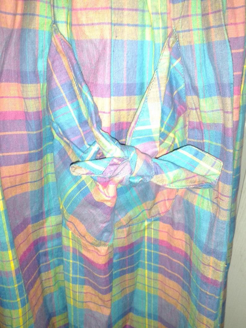 size M Multi-Colored Plaid Sleeveless Dress