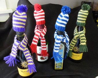 Team Colors Wine Bottle Scarf/Hat Cozy Set or Elf Hat/Scarf Set