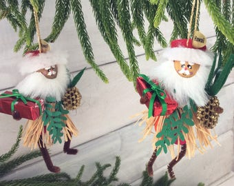 hawaiian christmas decoration hula santa christmas ornament mele kalikmaka hawaii st nick handmade original co worker gift