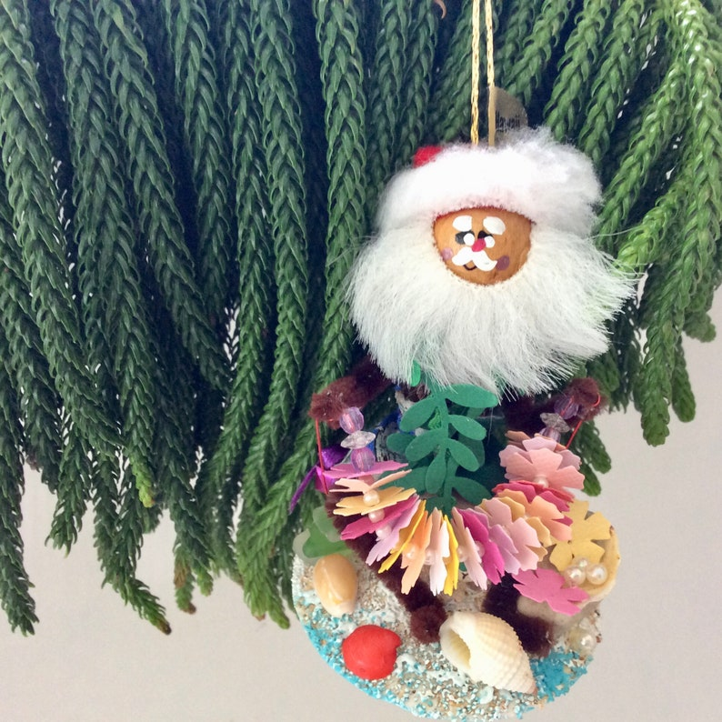 Hawaiian Christmas Hawaiian Ornament Santa Leimaker Etsy