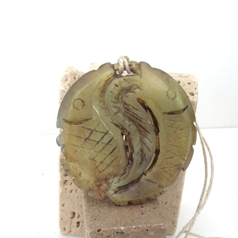 Hand Carved Chinese Jade Double Fish pendant Vintage create something sensational!