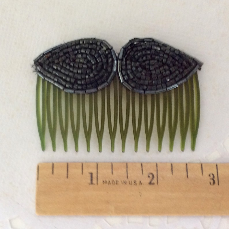 Beaded Hair Comb Retro gift for her lightweight vintage Hair Jewelry Hair accessory handmade made in USA