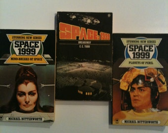 Housewarming Present: 3 Vintage Space 1999 Paperback Novels | Sci Fi Geek Gift | Unusual Book | Literary | Booknerd | Librarian Gift