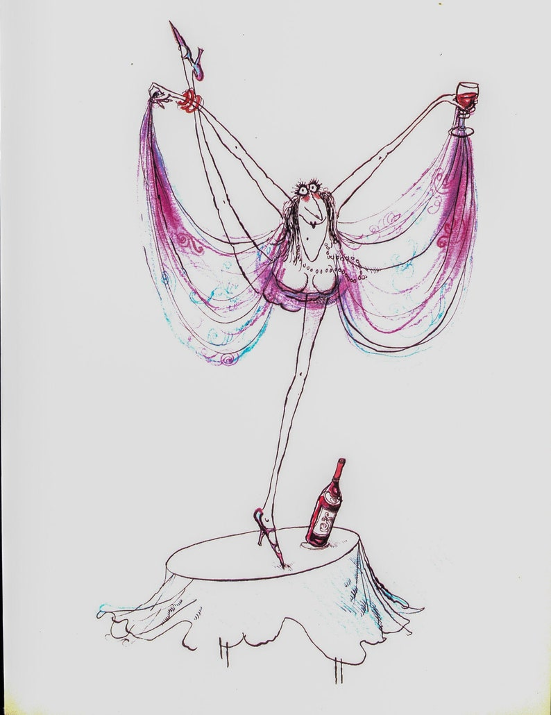 Gay and sprightly  Vintage wine themed book plate Ronald Searle Wine lovers humorous print 1983