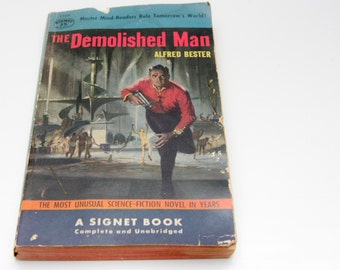 Demolished Man, Alfred Bester, Signet Paperback, Science Fiction Novel, Classic Sci Fi Tale, 1954, First Edition, Gifts for Dad, Great books