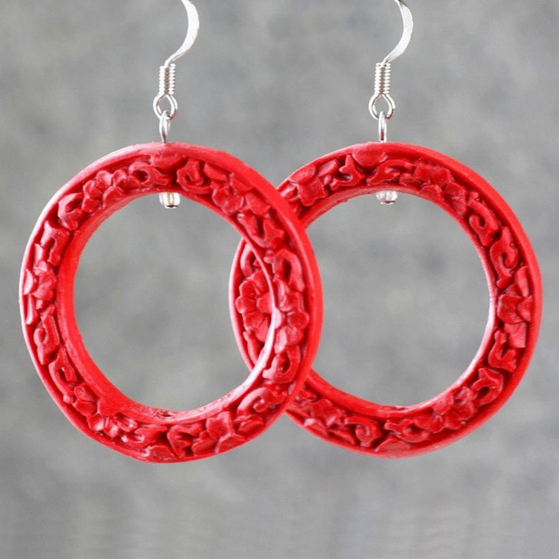 Red carved resin hoop earrings bridesmaid gift gift for her image 0