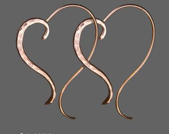 Heart Hoop earrings, Copper, Hammered, Oval  Handmade, Personalized, Boho  Statement, Free US shipping sterling silver