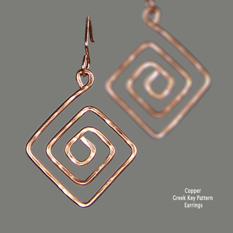 Copper earrings Greek Key Pattern Earrings Statement image 0