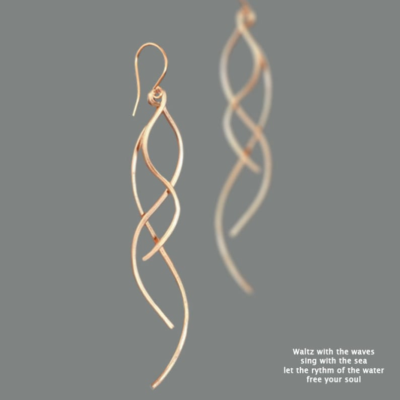 14k Rose gold filled Dangle earrings Spiral earrings Long image 0