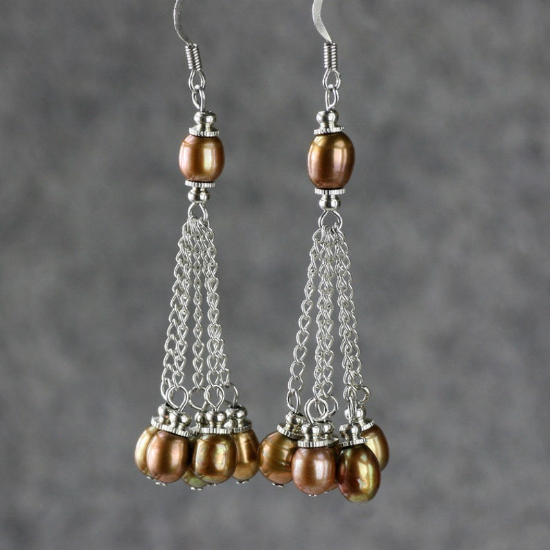 gift for her Brown pearl dangle earrings wedding gift handmade jewelry bridesmaid gift free US shipping birthday gift