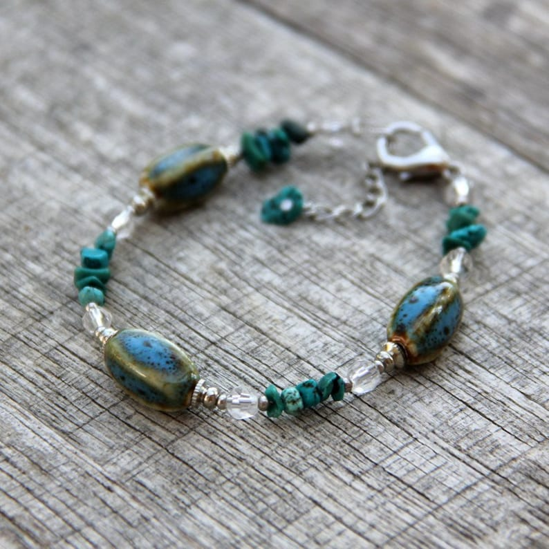 Turquoise ceramic charm bracelet bridesmaid gift gift for image 0
