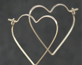 Heart hoop earrings, Valentine gift, 14k gold filled, Free US Shipping