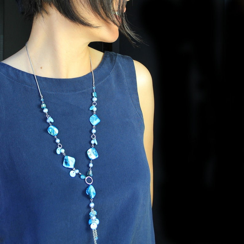 Teal shell lariat necklace bridesmaid gift gift for her image 0