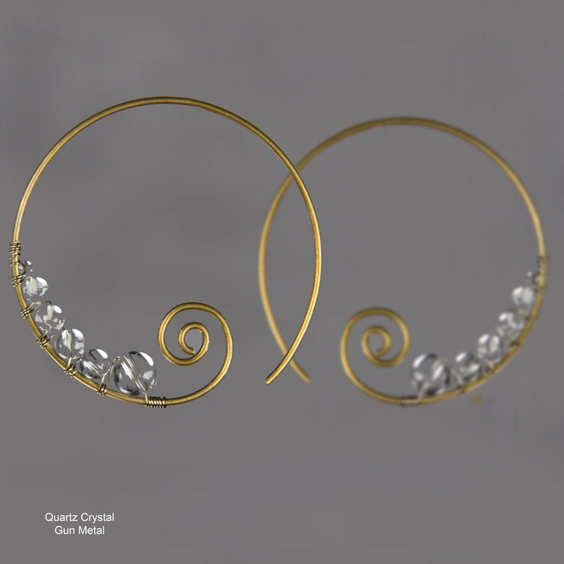 Spiral earrings Hoop earrings Quartz crystal Gun metal image 0