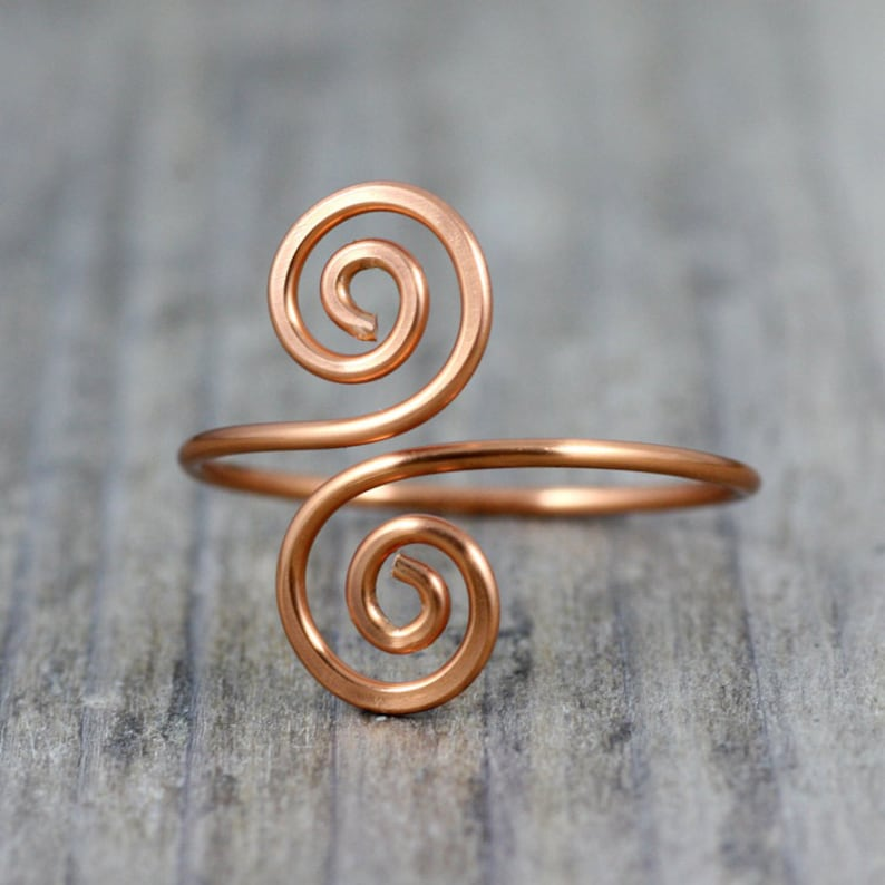 Copper ring Adjustable ring Spiral jewelry Handmade image 0