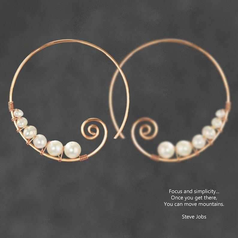 Pearl Spiral hoop earrings Gift for her Wedding gift image 1
