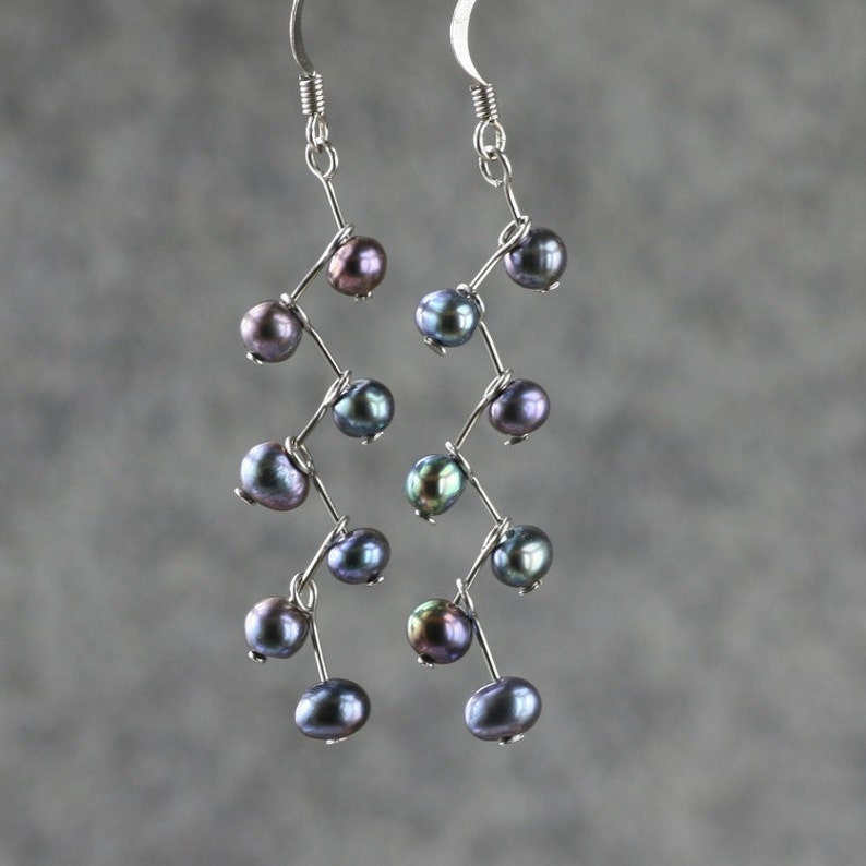 Black pearl earrings Drop earrings Dangle earrings Handmade image 0