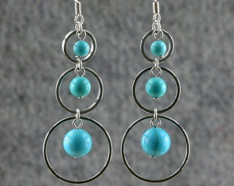 Turquoise earrings, hoop earrings, dangle earrings, long earrings, chandelier earrings, handmade earrings, Bridesmaid gift, Free US Shipping