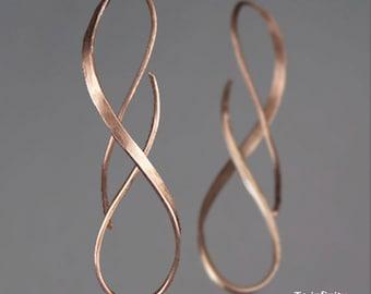 Infinity earrings,  14k rose gold-filled  earrings, long spiral earrings,  free US shipping, infinity dangle earrings,chandelier earrings