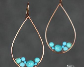 Teardrop earrings,Turquoise,hoop earrings,handmade earrings,free US shipping