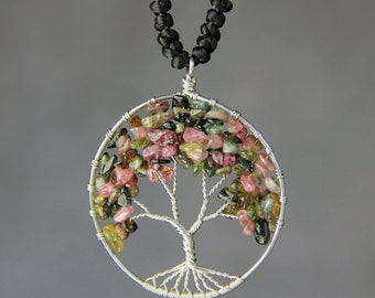 Multi tourmaline tree of life branch wiring pendant necklace Free US Shipping handmade Anni Designs