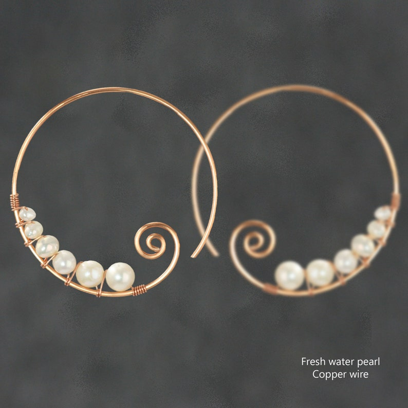 Pearl Spiral hoop earrings Gift for her Wedding gift image 0