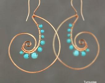 Spiral shell earrings,Turquoise earrings,Hoop earrings,Personalized jewelry, Free US shipping