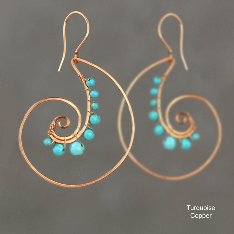 Spiral shell earringsTurquoise earringsHoop image 0