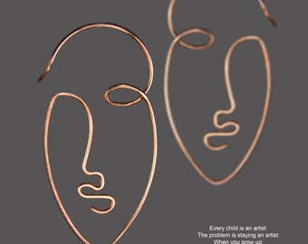 Picasso Abstract art, 14k Rose gold filled hoop earrings, Abstract face, Handmade jewelry, Free US Shipping