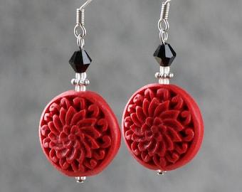 Red Cinnabar, flower earrings, drop earrings, Chinese earrings, dangle earrings, Bridesmaids gifts, Statement earrings,  Free US Shipping