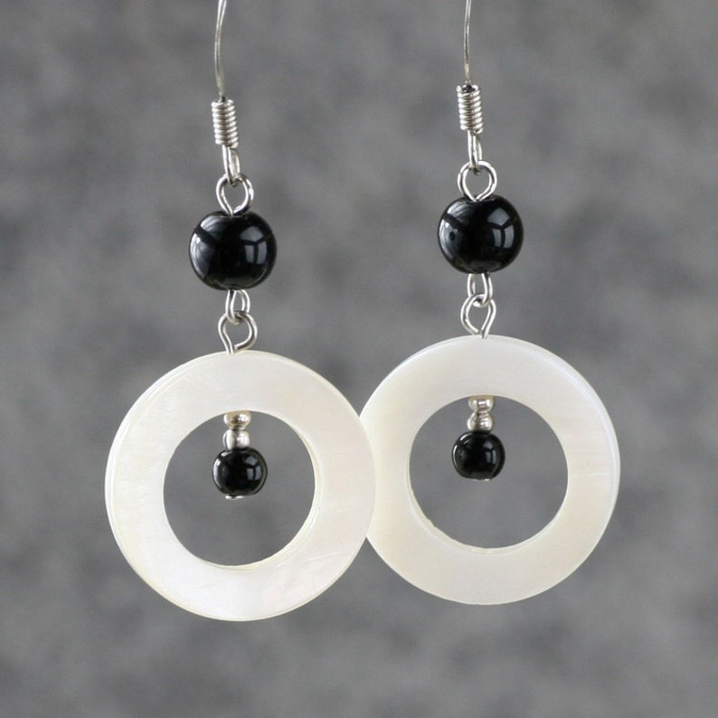Circular shell dangle earrings bridesmaid gift gift for her image 0