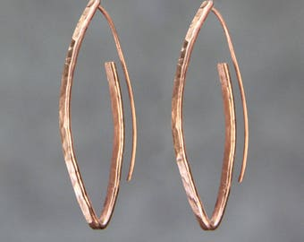 Oval Hoop earrings, Copper,  Hammered, Personalized,  Statement, Free US shipping sterling silver