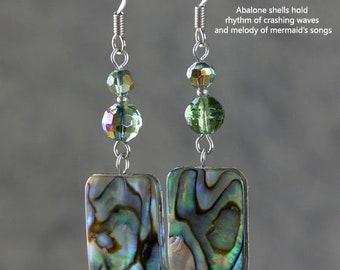 Abalone earrings, Square earrings, Drop earrings, Geometric earrings, Gift for her, Personalized jewelry, Handmade jewelry, Free US Shipping