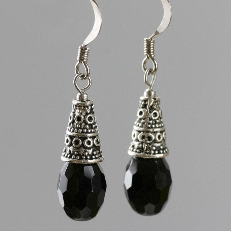 Black dangle earrings bridesmaid gift gift for her wedding image 0