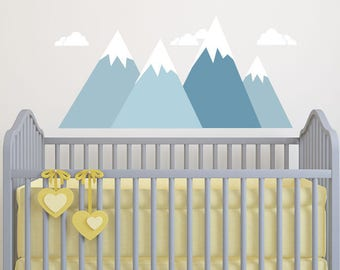 Kids Mountain Wall Decal, Kids Room Fabric Wall Decal Ecofriendly No Toxins  No PVCs Decals, WD480mb