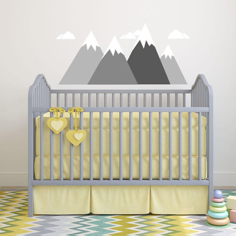 Mountain Wall Decal Mountain Scene Decal Kids Wall Decals image 0
