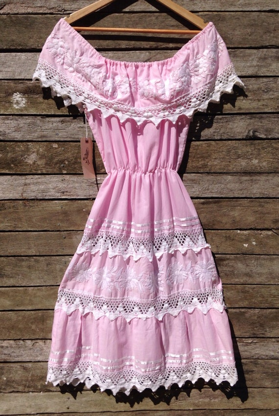 1960's Mexican Pastel Pink Off Shoulder Dress with